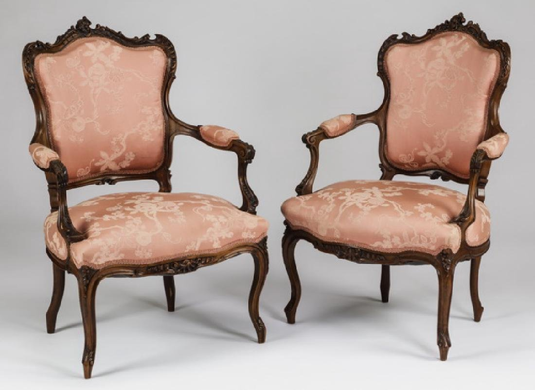 (2) 19th c. French Louis XV style walnut bergeres
