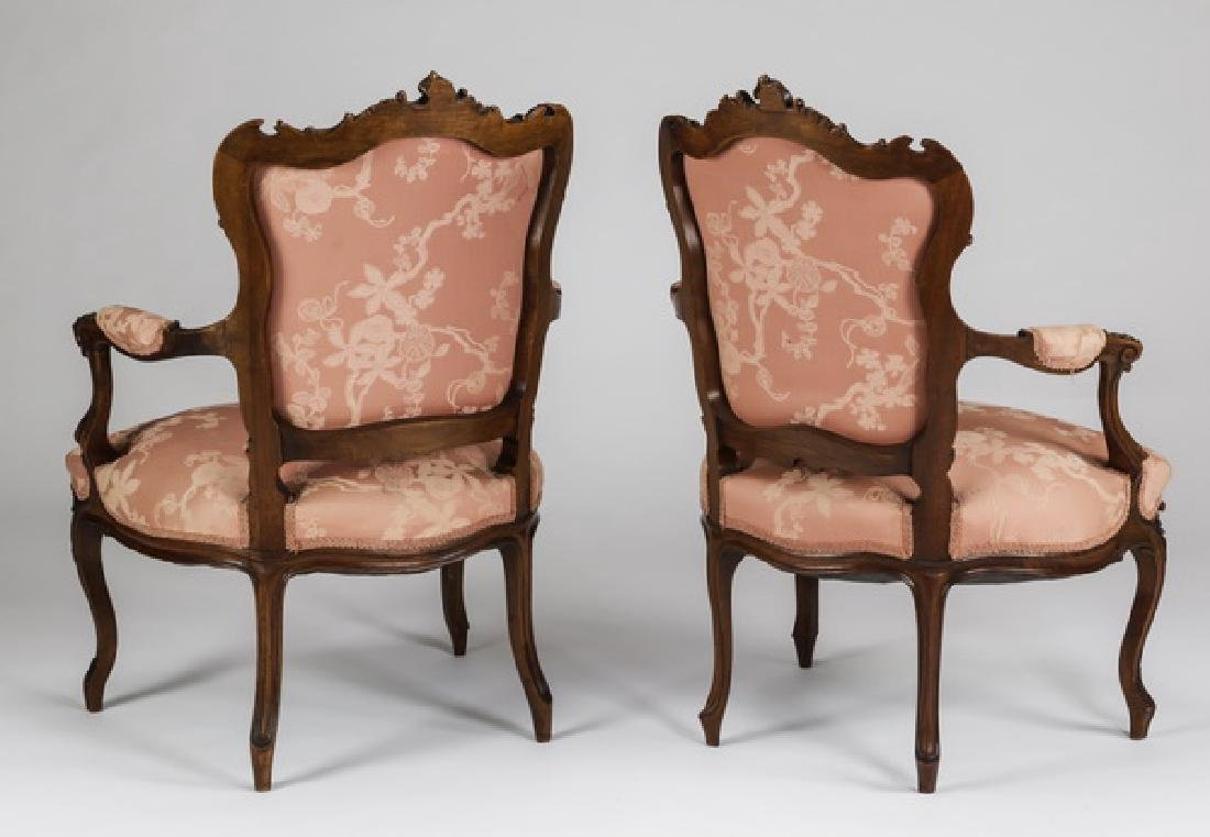 (2) 19th c. French Louis XV style walnut bergeres - 2