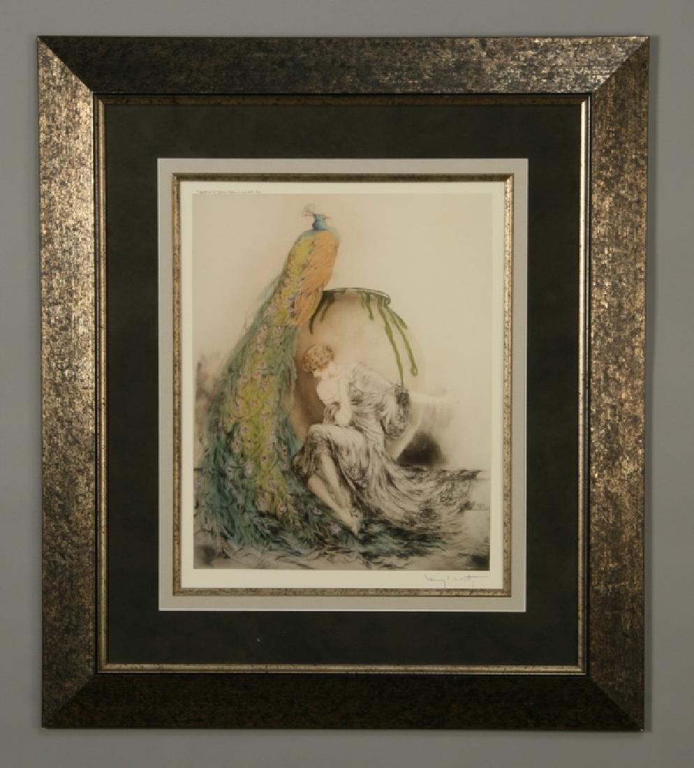 "Framed lithograph, ""Le Paon"", after Icart"