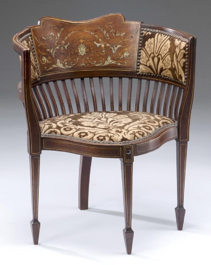 "Edwardian mahogany inlaid corner chair, 26""h"