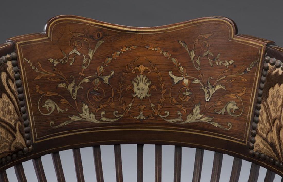 "Edwardian mahogany inlaid corner chair, 26""h - 3"