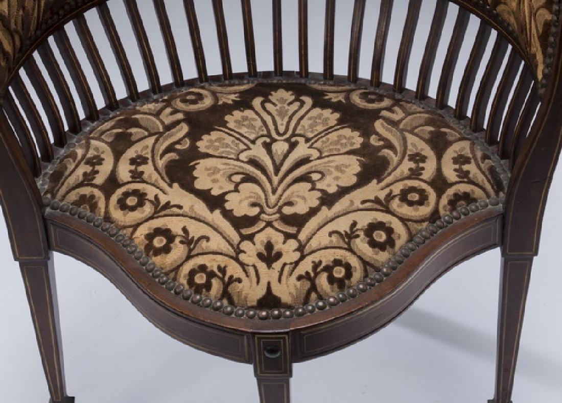 "Edwardian mahogany inlaid corner chair, 26""h - 4"