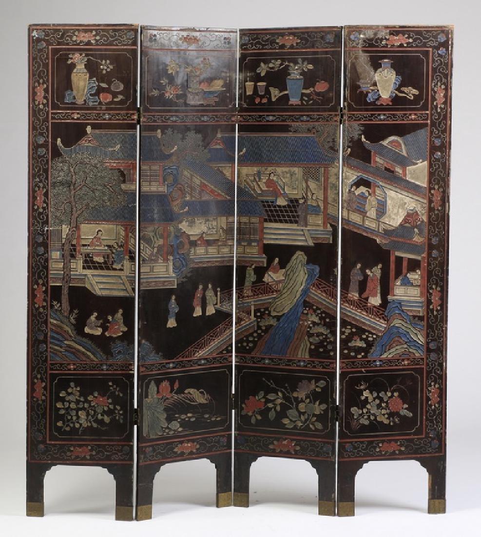 "Chinese 4-panel polychrome coromandel screen, 72""h"