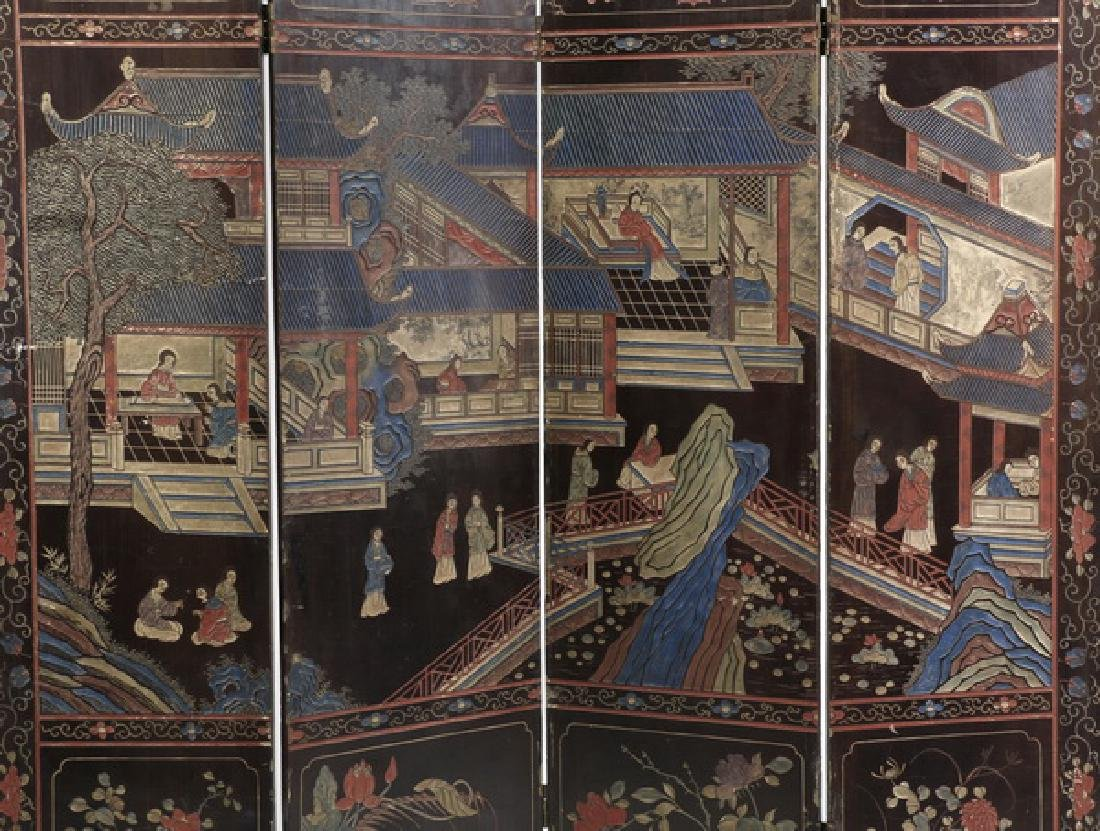 "Chinese 4-panel polychrome coromandel screen, 72""h - 3"