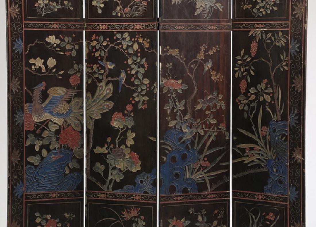 "Chinese 4-panel polychrome coromandel screen, 72""h - 6"