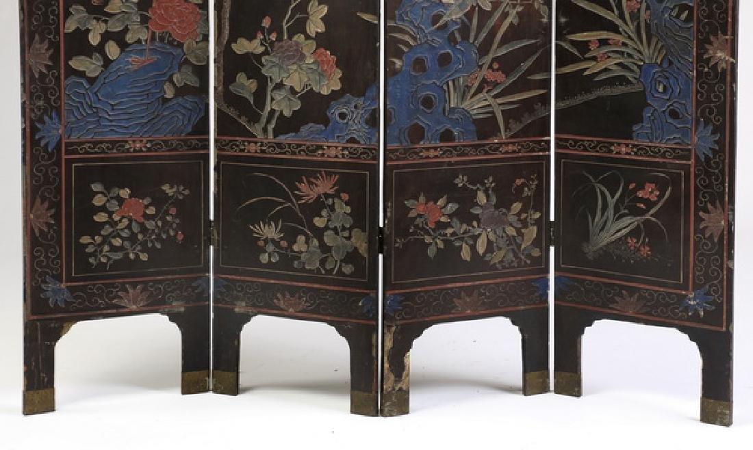 "Chinese 4-panel polychrome coromandel screen, 72""h - 8"