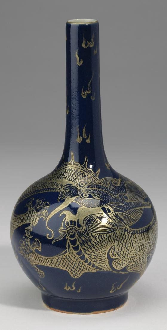 Chinese porcelain stick neck vase, Qianlong mark