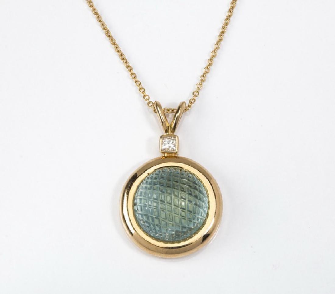 "Aquamarine, diamond, & 18k gold pendant, 1.2""long"
