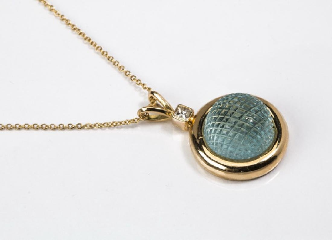 "Aquamarine, diamond, & 18k gold pendant, 1.2""long - 2"