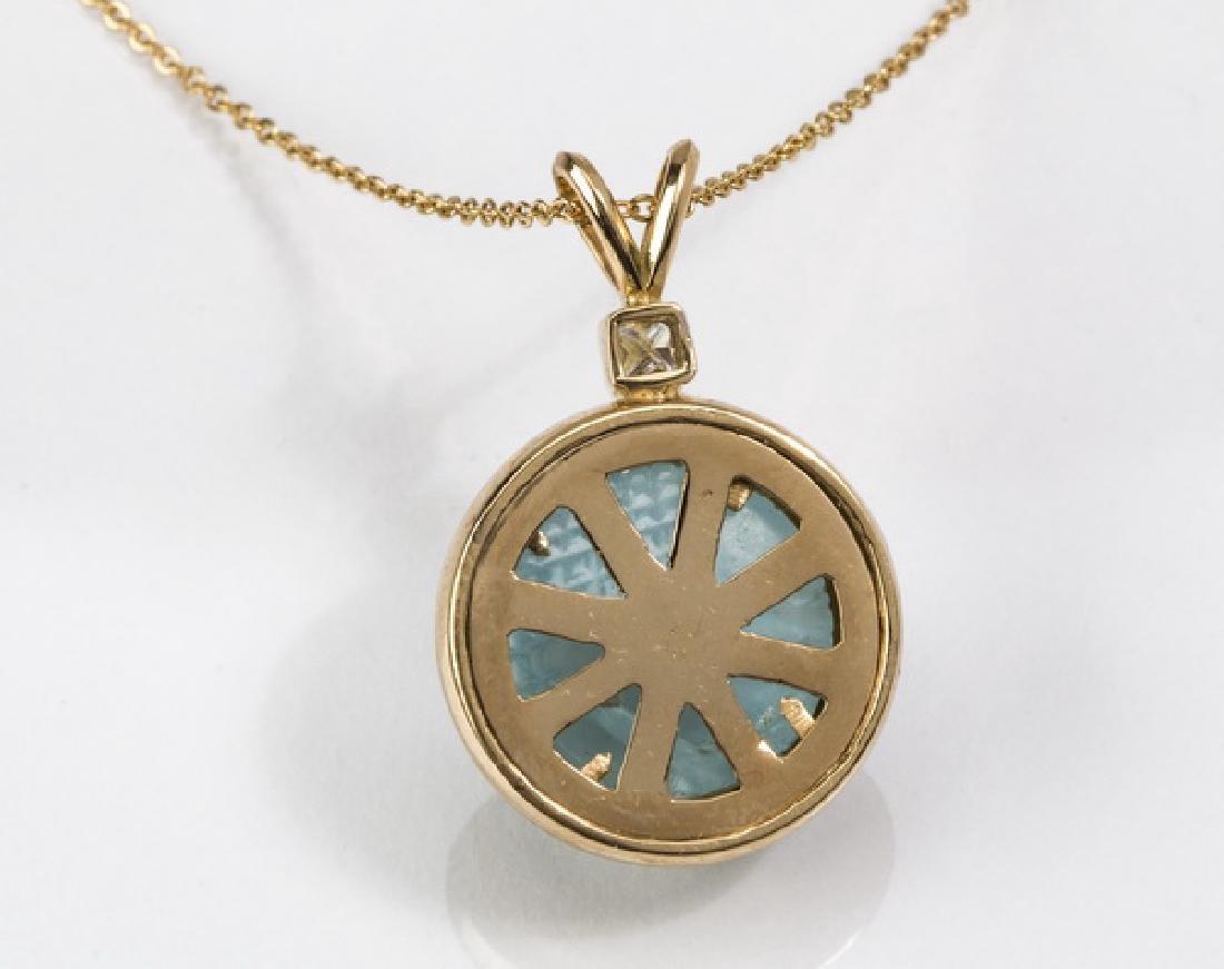 "Aquamarine, diamond, & 18k gold pendant, 1.2""long - 3"