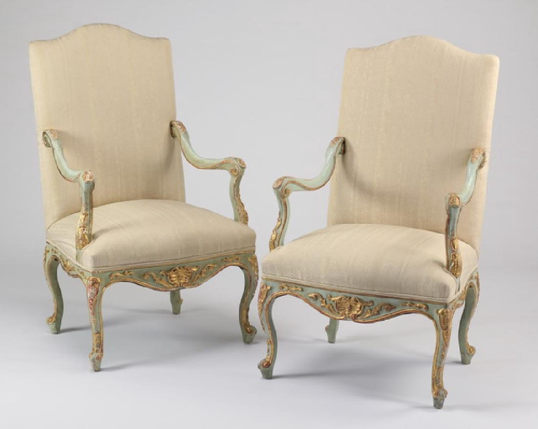 (2) Paint decorated French Provincial style armchairs