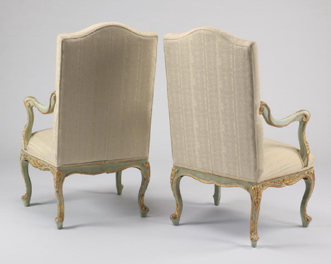 (2) Paint decorated French Provincial style armchairs - 2