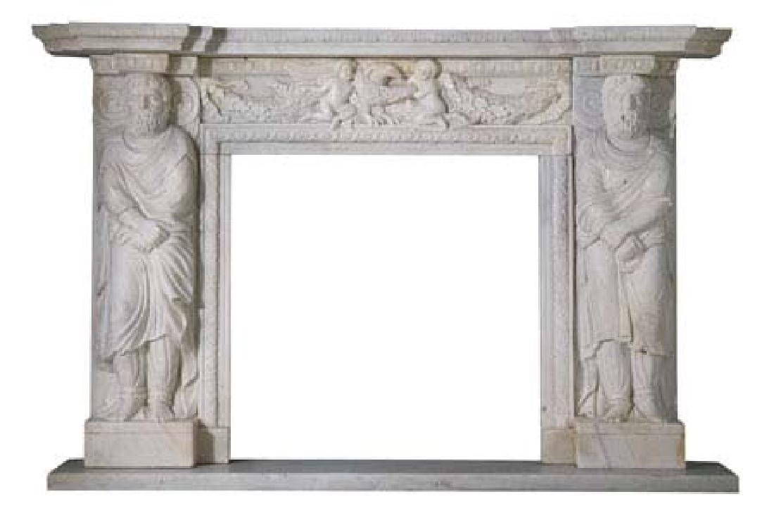 "Oversized carved marble mantel, 53""h"