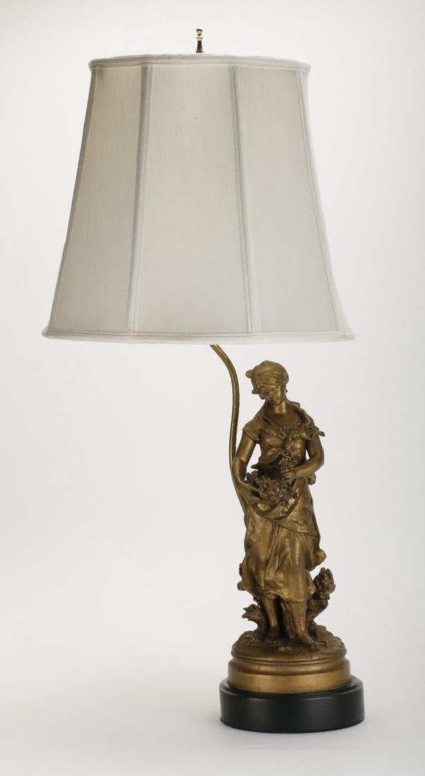 Spelter figural lamp of a maiden, early 20th c.