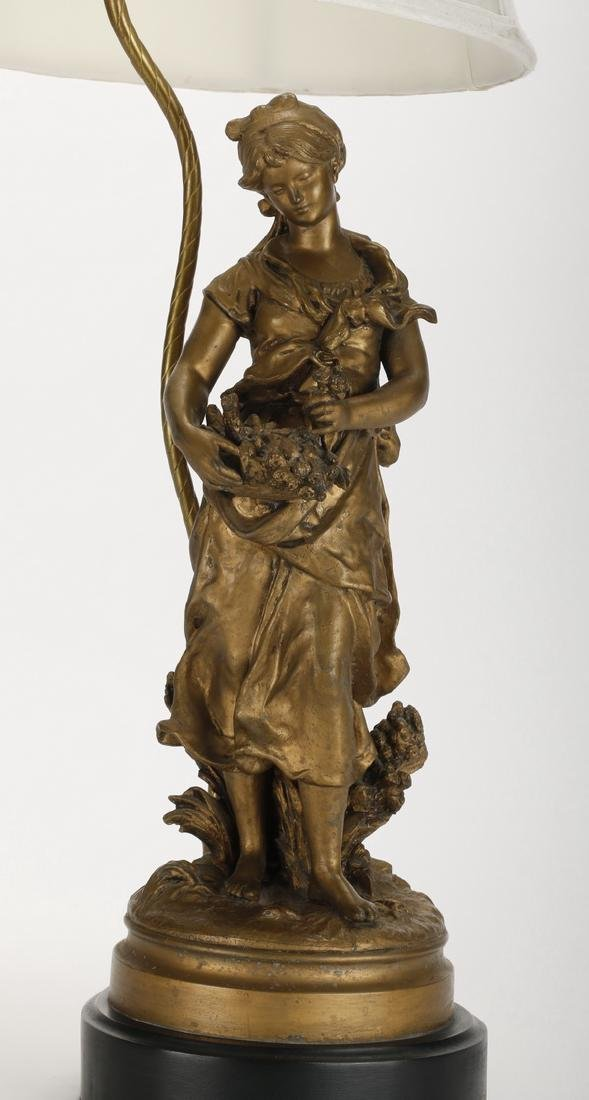 Spelter figural lamp of a maiden, early 20th c. - 2