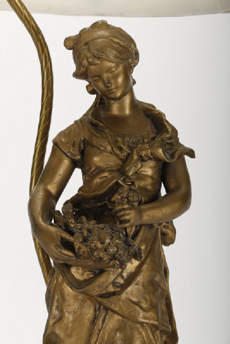 Spelter figural lamp of a maiden, early 20th c. - 3