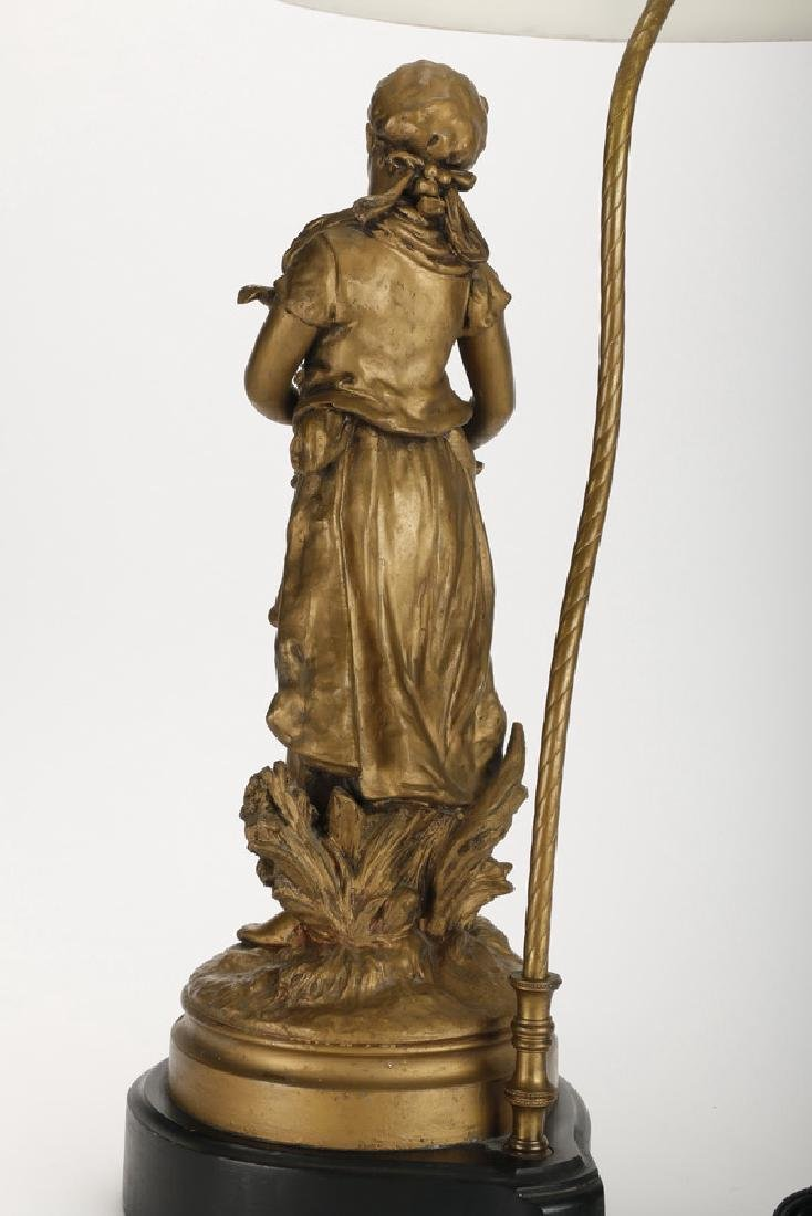 Spelter figural lamp of a maiden, early 20th c. - 4