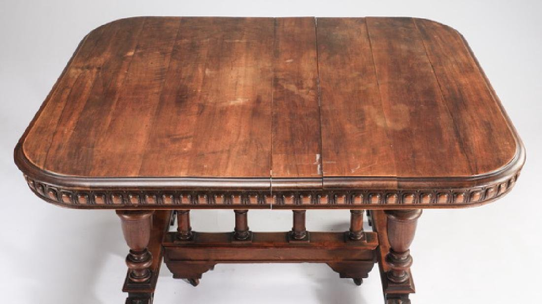 19th c. French carved walnut table, maker marked - 2