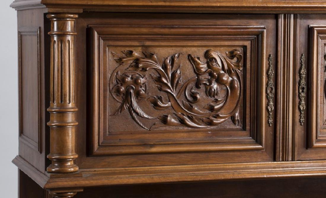 """19th c. French carved walnut buffet, 88""""h - 3"""