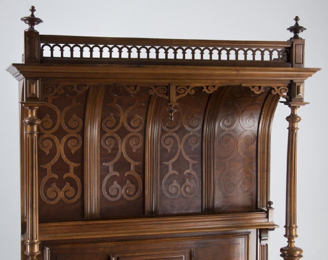 """19th c. French carved walnut buffet, 88""""h - 4"""