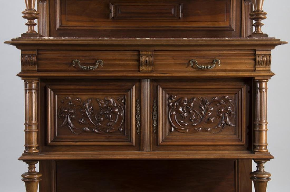 """19th c. French carved walnut buffet, 88""""h - 5"""