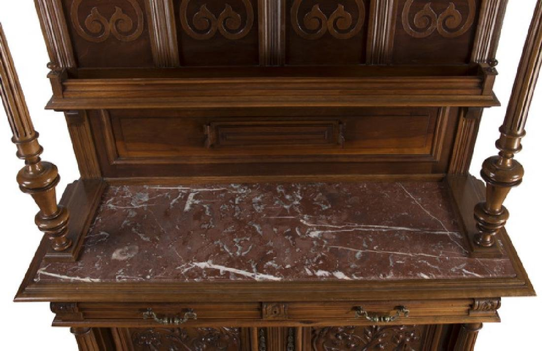 """19th c. French carved walnut buffet, 88""""h - 6"""