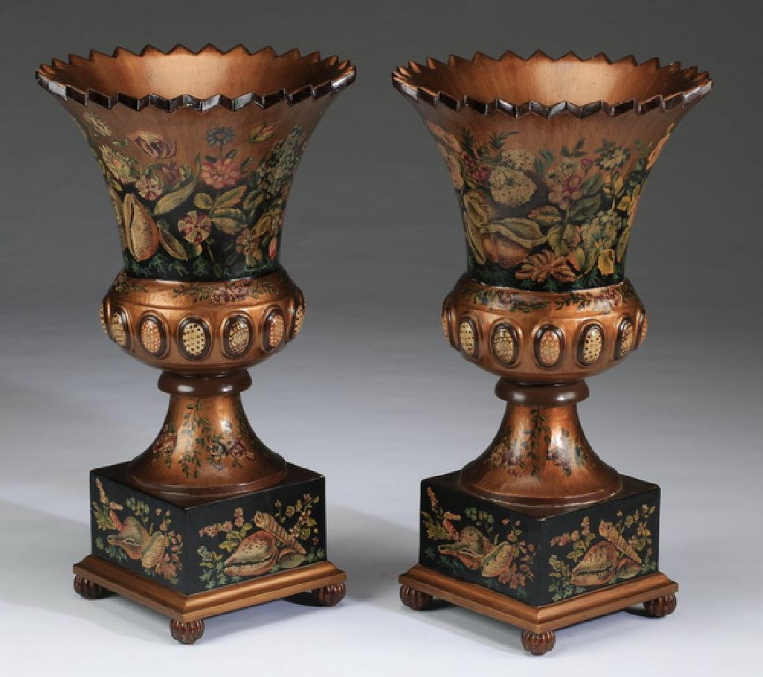 """(2) Neoclassical-style paint decorated wood urns, 28"""""""