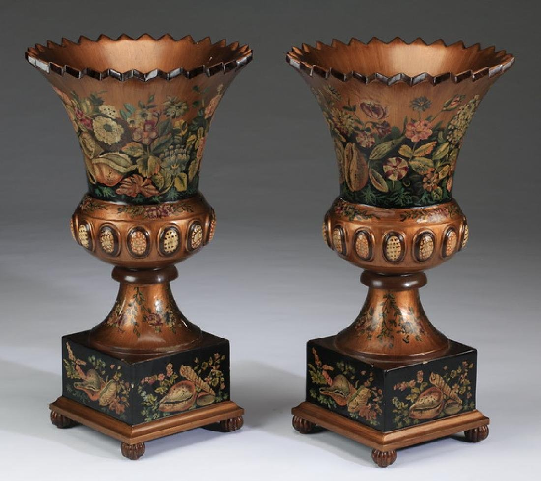 """(2) Neoclassical-style paint decorated wood urns, 28"""" - 2"""
