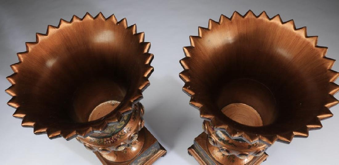 """(2) Neoclassical-style paint decorated wood urns, 28"""" - 3"""