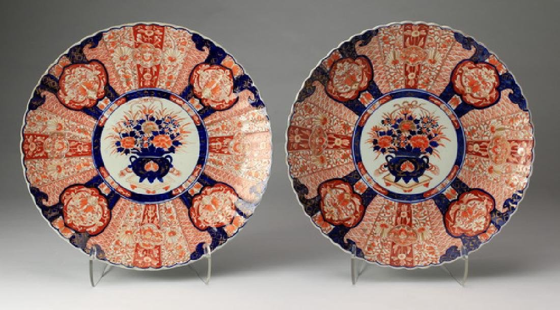 "(2) 19th c. Japanese Imari chargers, 19""w"