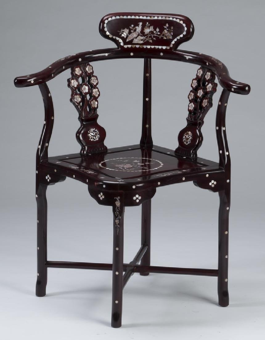 Chinese rosewood and mother-of-pearl corner chair