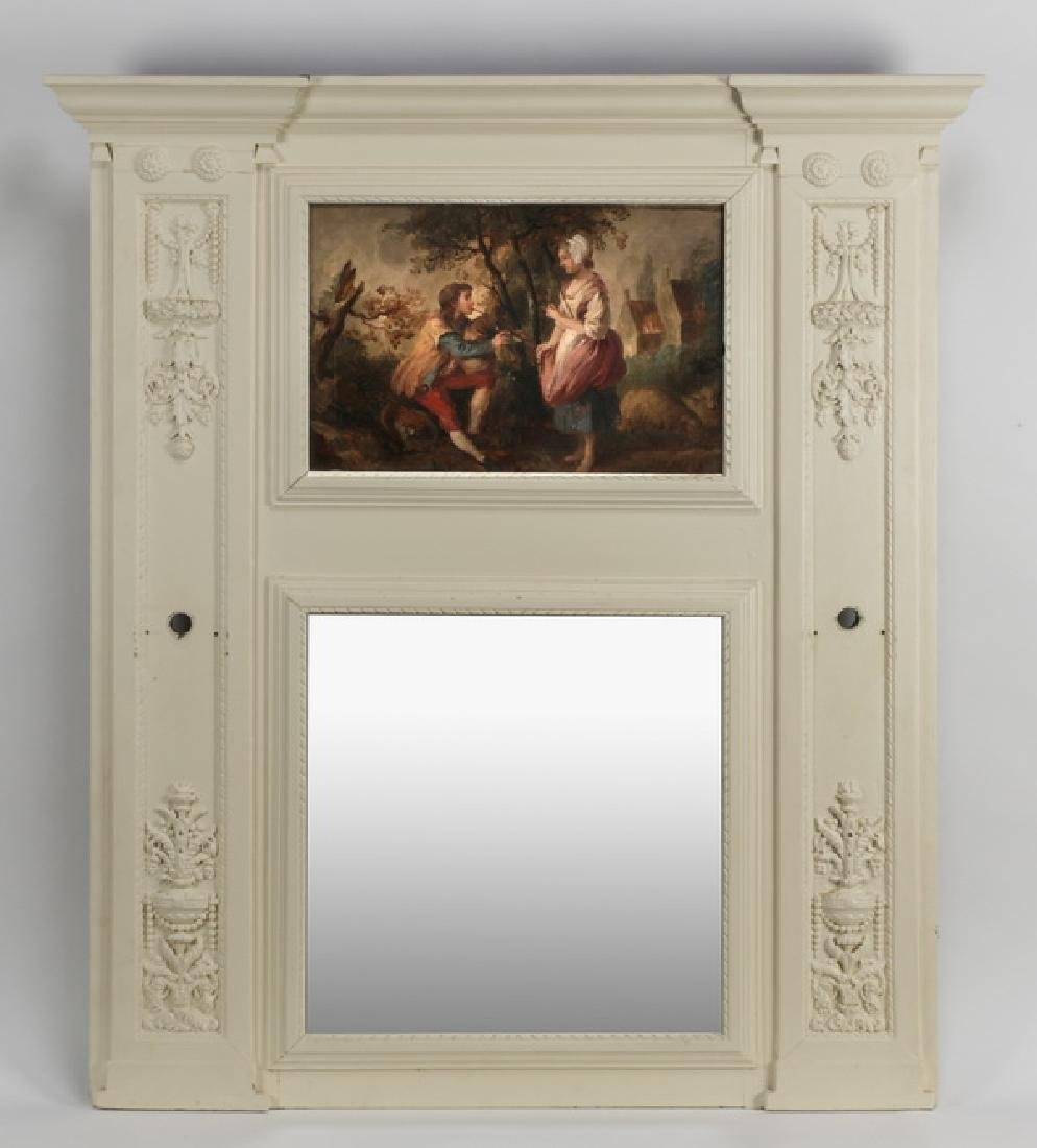 """Neoclassical style trumeau mirror with O/c, 54""""h"""