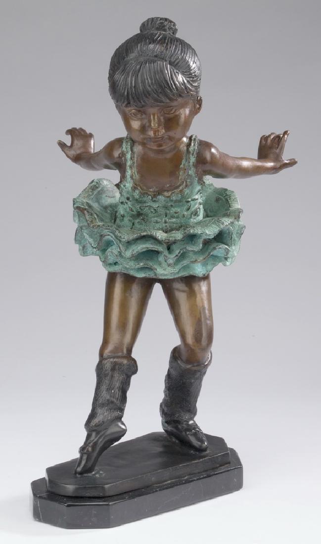 "Patinated bronze sculpture of a ballerina, 15""h"