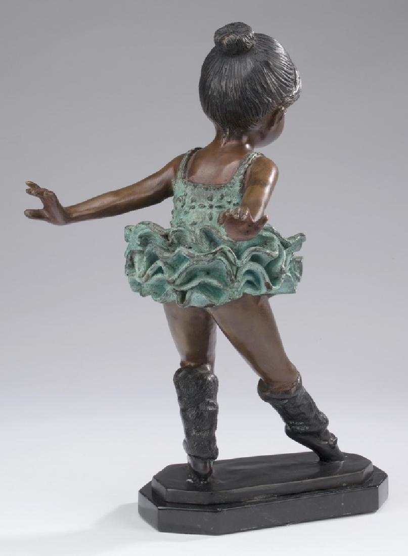 "Patinated bronze sculpture of a ballerina, 15""h - 2"