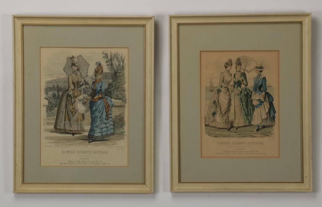 (2) 19th c. hand colored engravings