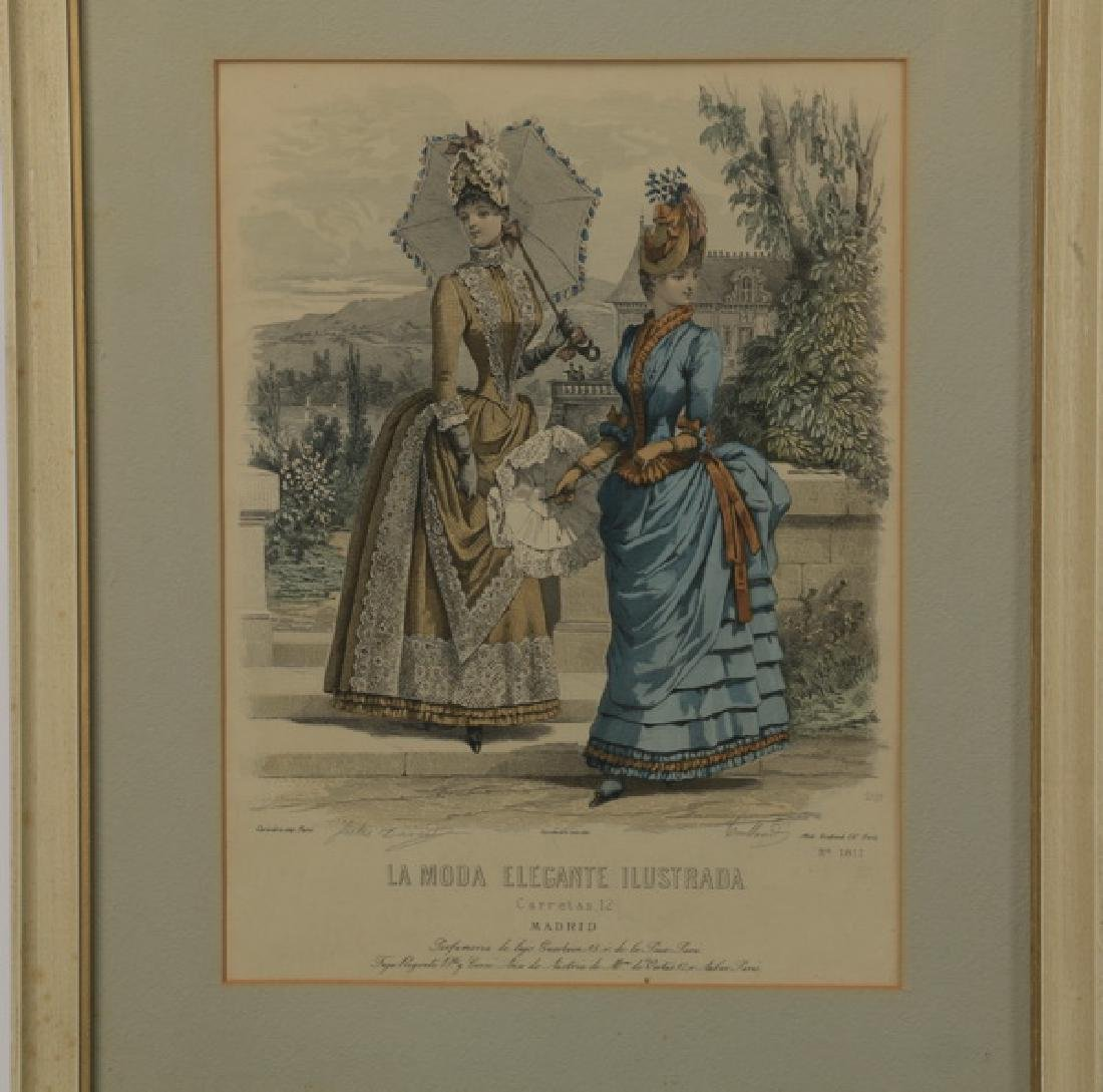 (2) 19th c. hand colored engravings - 2
