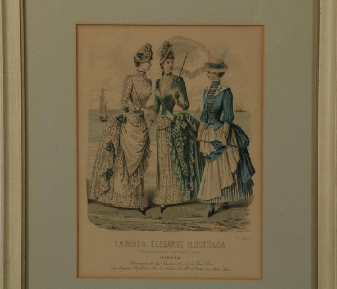 (2) 19th c. hand colored engravings - 3