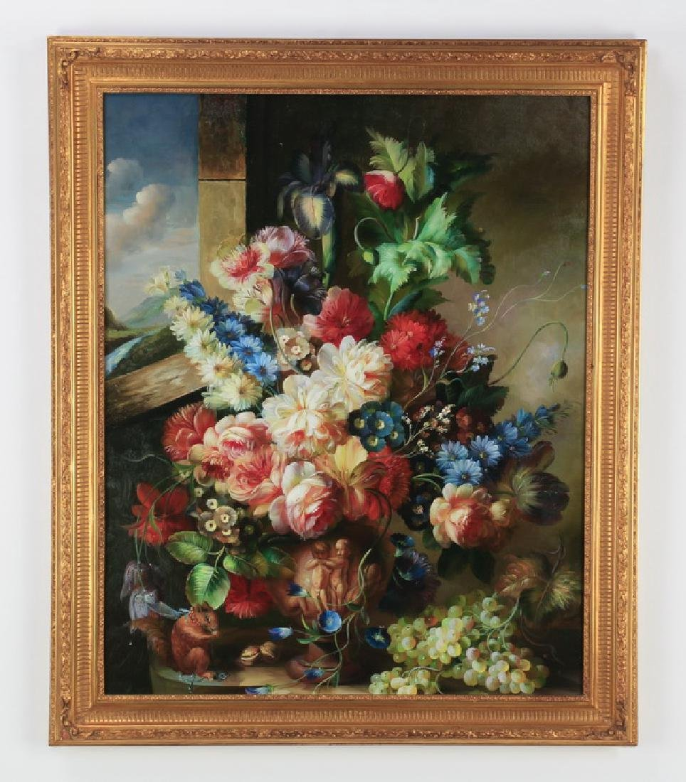 """Oversized oil on canvas floral still life, 46""""h"""