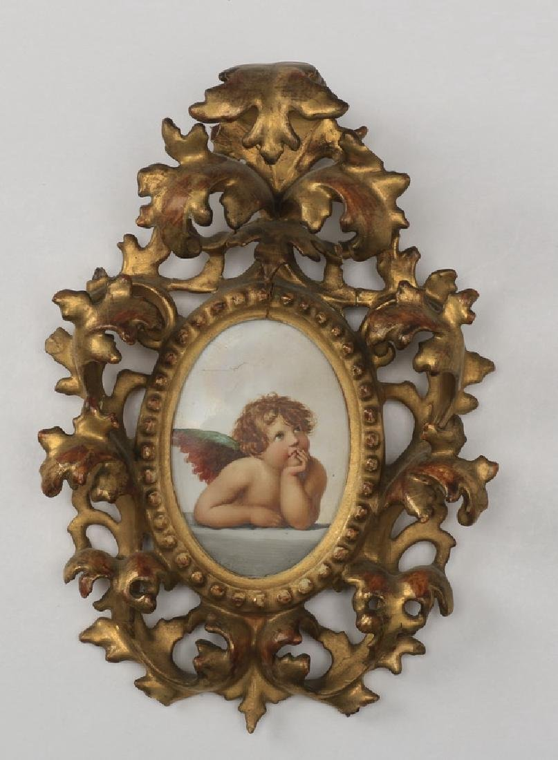 19th c. porcelain plaque in giltwood frame