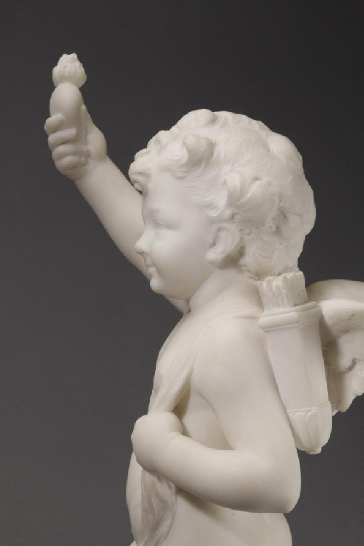 Carved marble sculpture of Cupid & flaming heart - 9