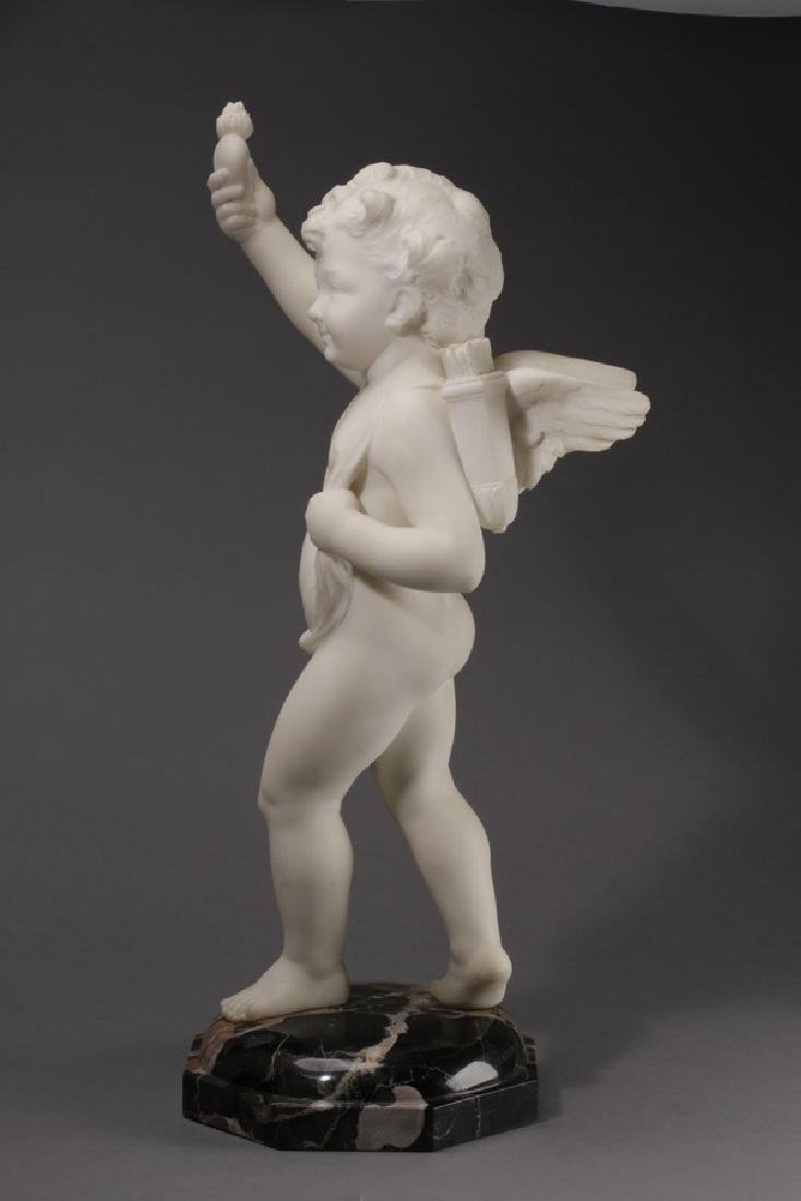 Carved marble sculpture of Cupid & flaming heart - 2