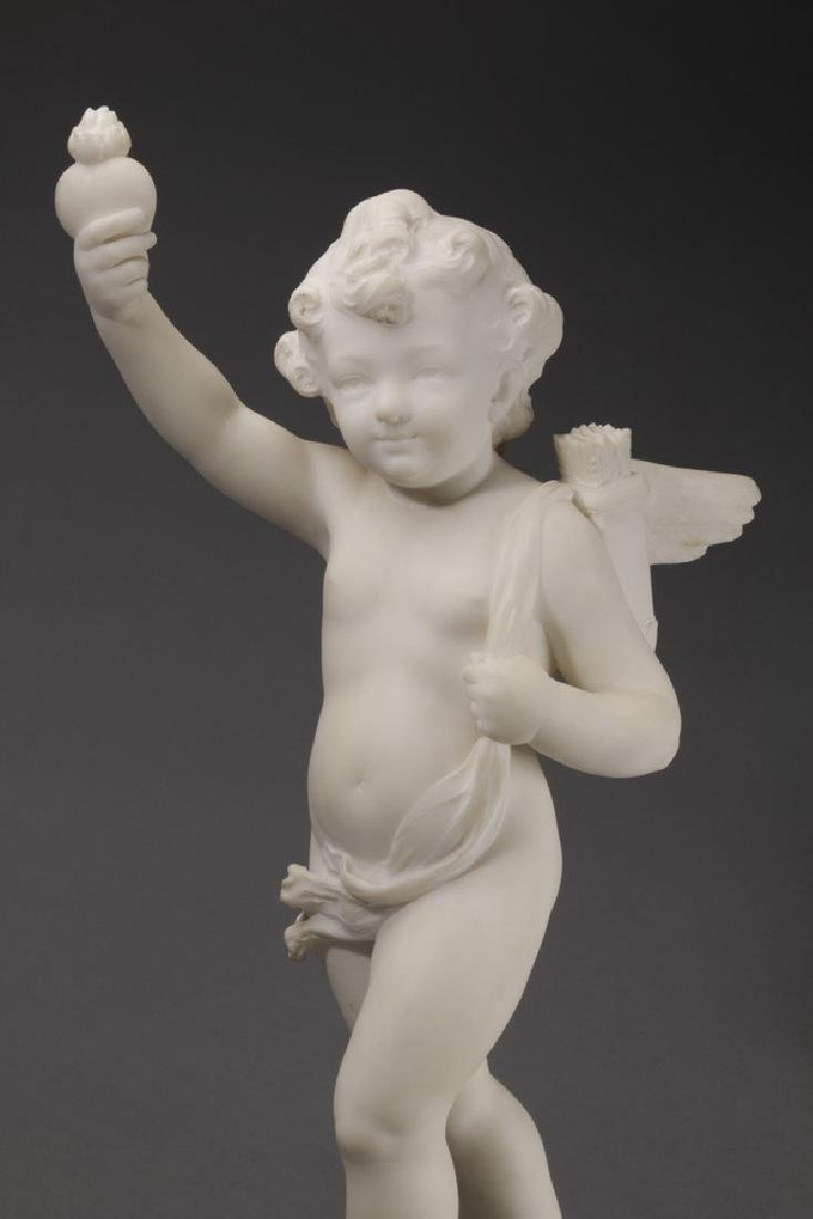 Carved marble sculpture of Cupid & flaming heart - 6