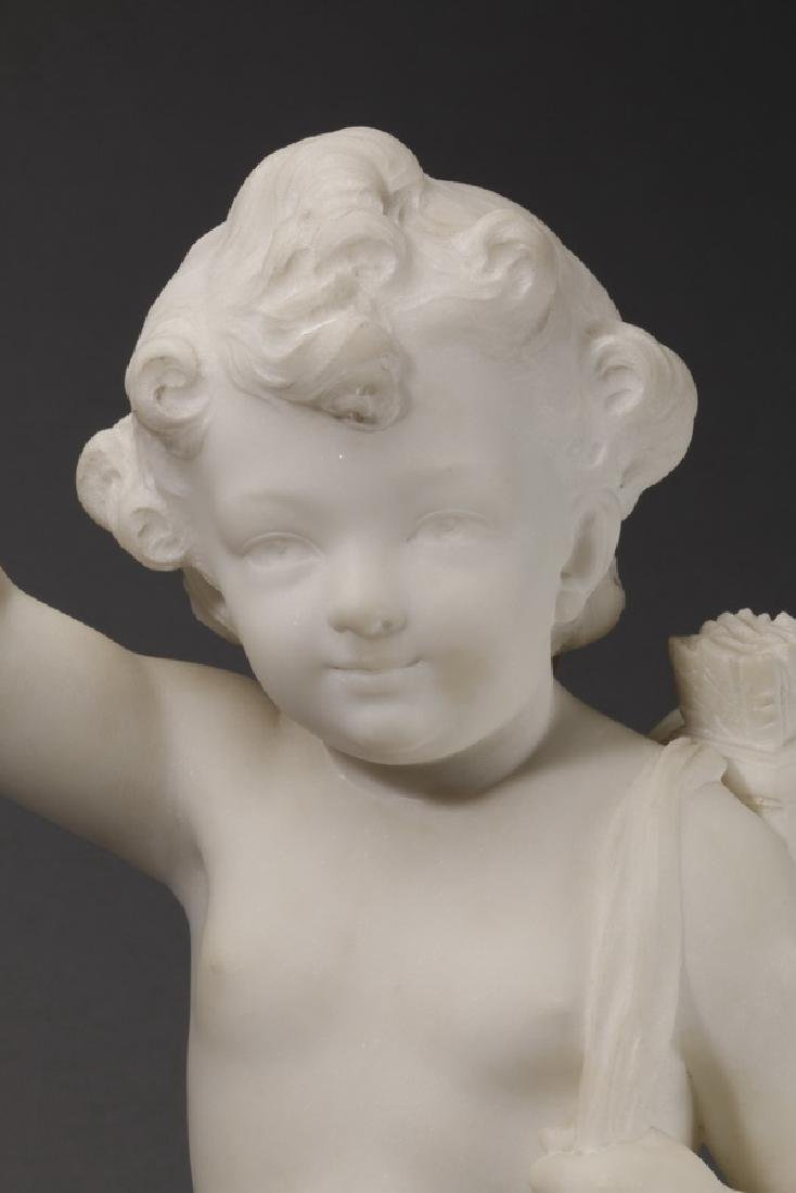 Carved marble sculpture of Cupid & flaming heart - 7