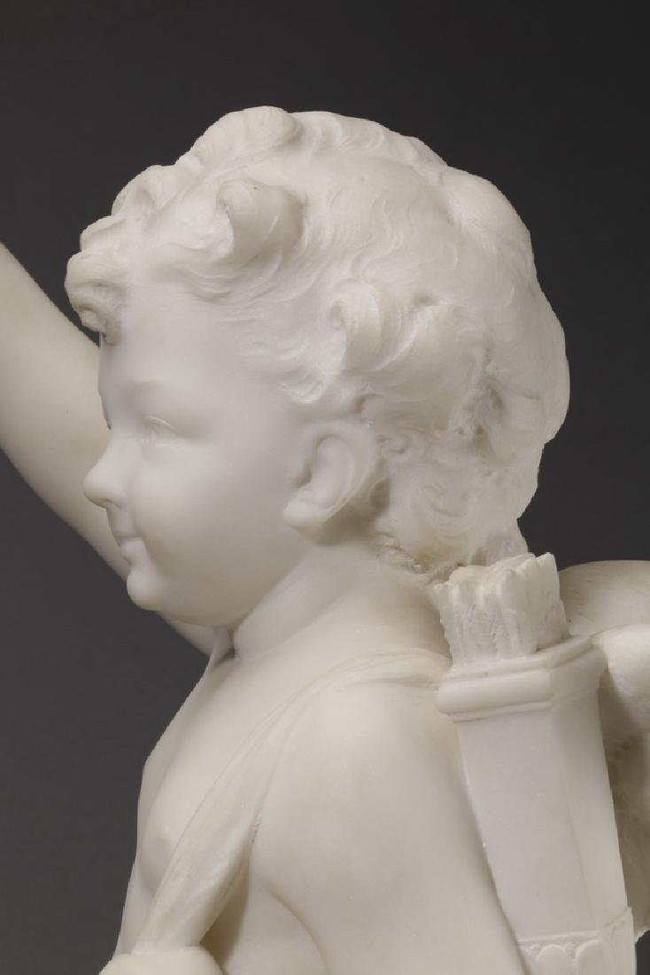 Carved marble sculpture of Cupid & flaming heart - 8