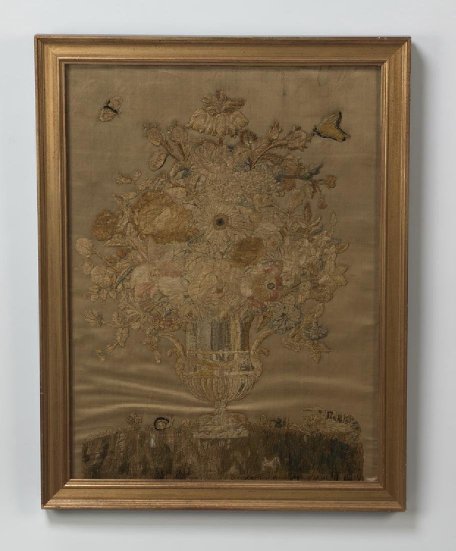 19th c. stumpwork embroidery of flowers on silk