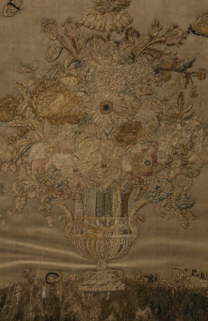 19th c. stumpwork embroidery of flowers on silk - 2