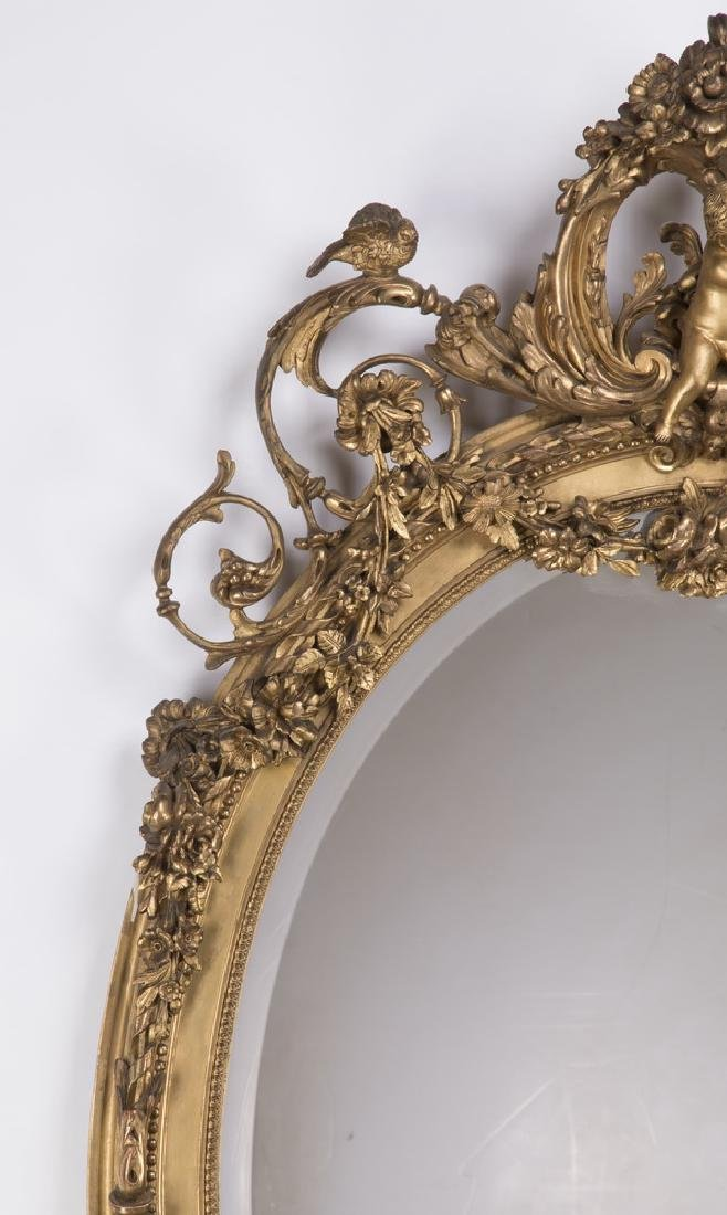 "Louis XV style oval gilt wood beveled mirror, 64""h - 3"