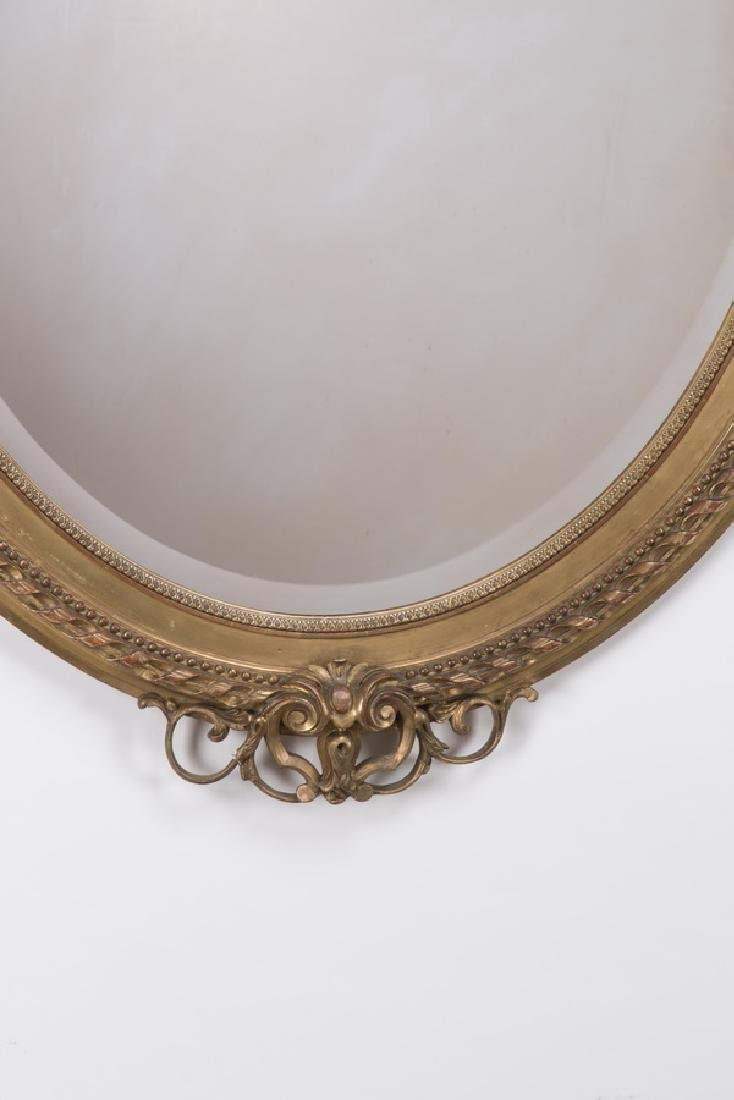 "Louis XV style oval gilt wood beveled mirror, 64""h - 4"