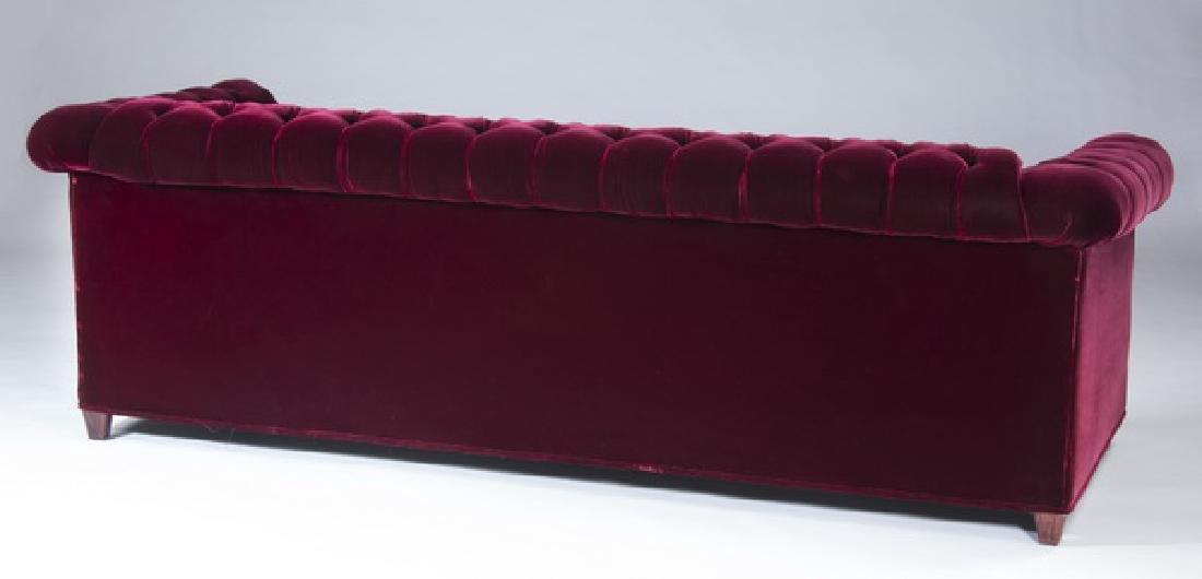 """Chesterfield style sofa in raspberry velvet, 87""""l - 2"""