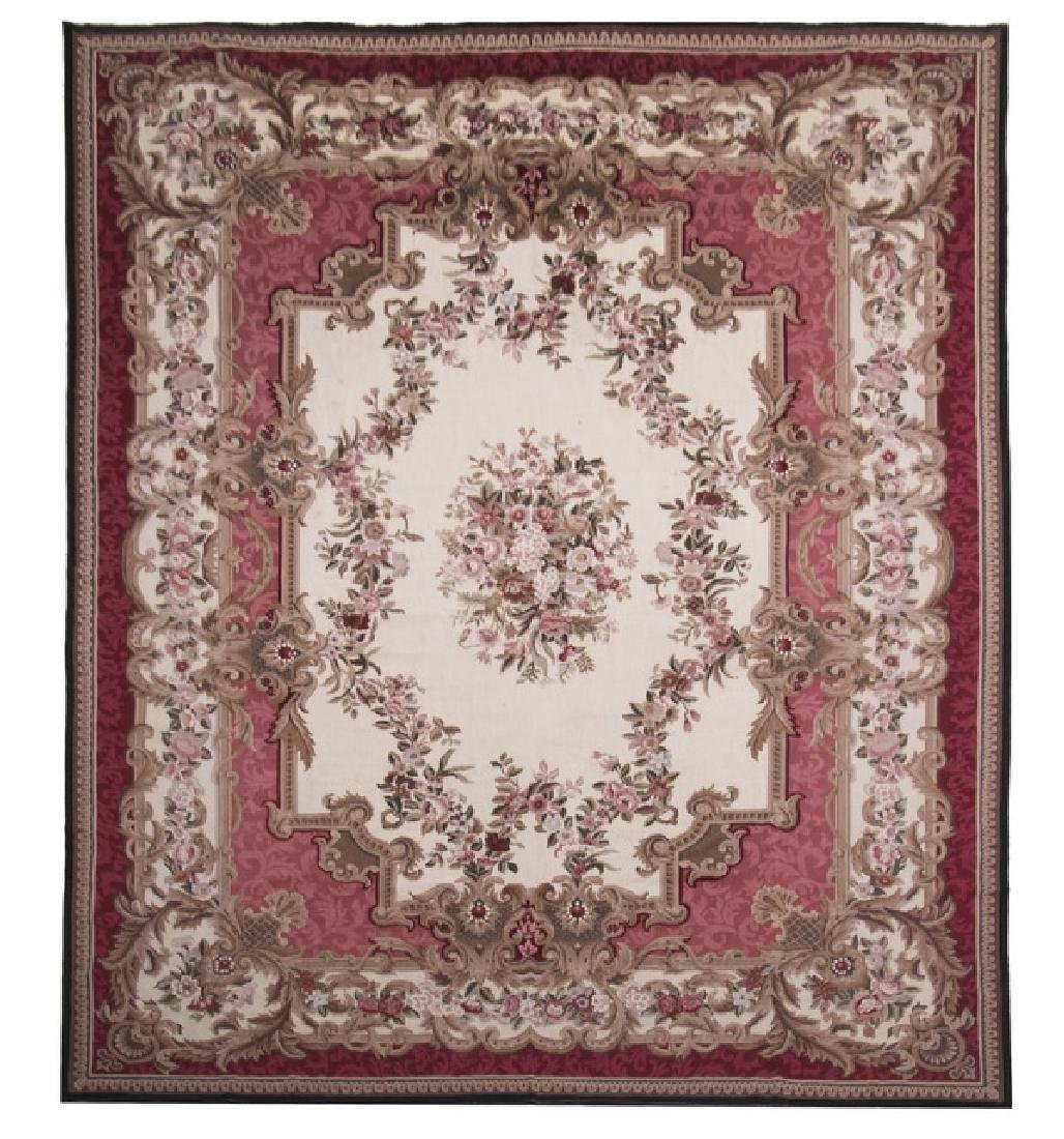 Hand woven Aubusson style floral rug, 10 x 14